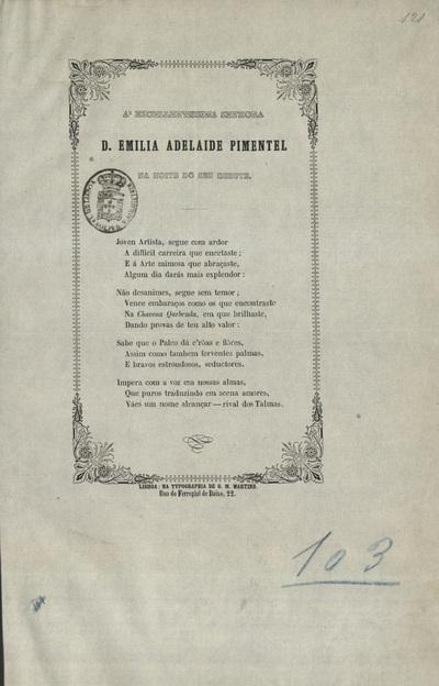 Poesia à Emª Srª D. Emilia Adelaide Pimentel na noite do seu debute