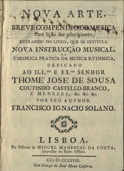 Nova arte, e breve compendio de musica para lição dos principiantes...