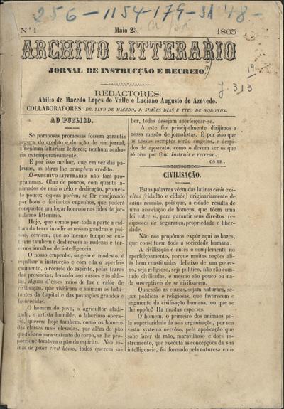 Archivo litterario: jornal de instrucção e recreio