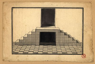 [Estudo de perspectiva]: [pavimento em xadrez e escadaria dupla]