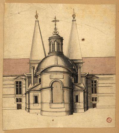 [Estudo arquitectónico de alçado de igreja ou capela vista da parte do altar-mor]
