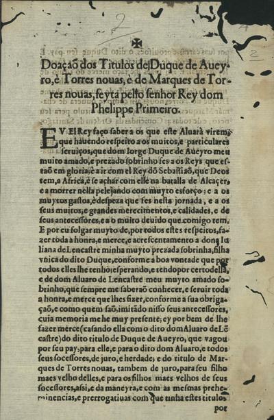 Doação dos Titulos del Duque de Aveyro, è Torres novas, è de Marques de Torres nouas, feyta pello Senhor Rey dom Phelippe Primeiro