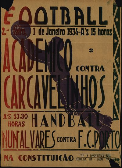 Football: Academico contra Carcavelinhos: Handball - NunªAlvares contra F.C.Porto