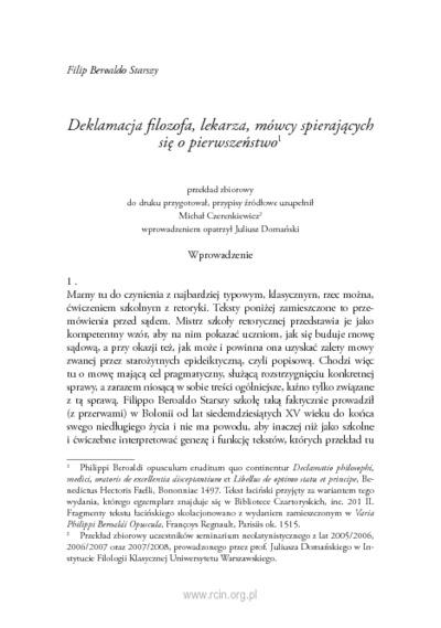 Deklamacja filozofa, lekarza, mówcy spierających się o pierwszeństwo