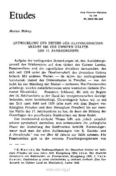 Entwicklung des Netzes der altpreußischen Städte bis zur zweiten Hälfte des 17. Jahrhunderts