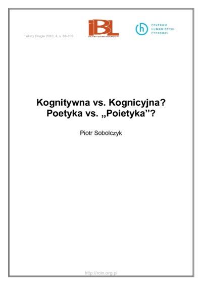 Kognitywna vs. Kognicyjna? Poetyka vs.