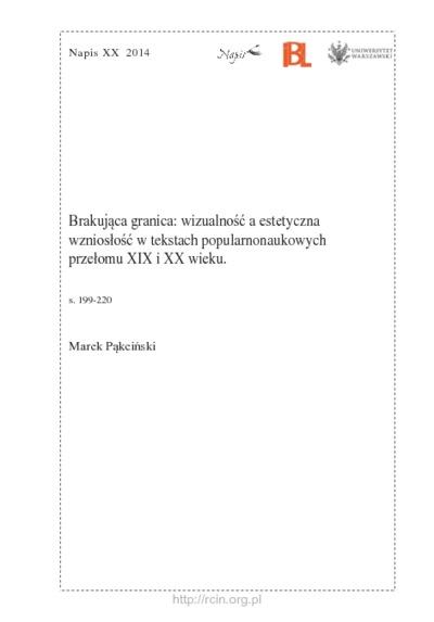 Brakująca granica: wizualność a estetyczna wzniosłość w tekstach popularnonaukowych przełomu XIX i XX wieku