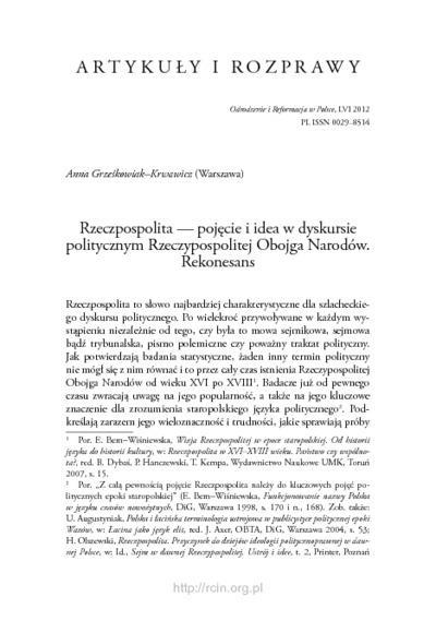 Rzeczpospolita — pojęcie i idea w dyskursie politycznym Rzeczypospolitej Obojga Narodów : rekonesans