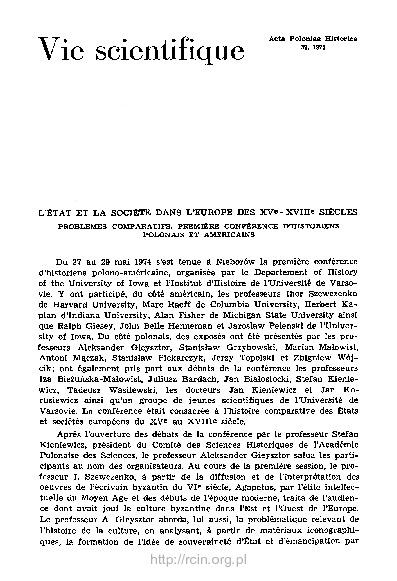 Acta Poloniae Historica T. 32 (1975), Vie scientifique