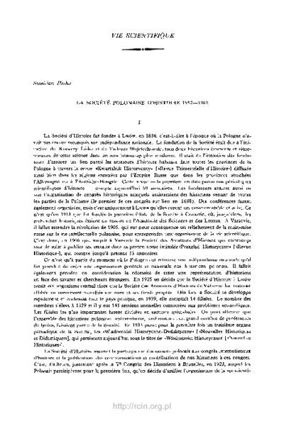 La Société Polonaise d'Histoire 1952-1962