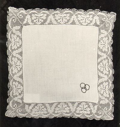 Handkerchief; embroidered initials O C P (Cyrillic)