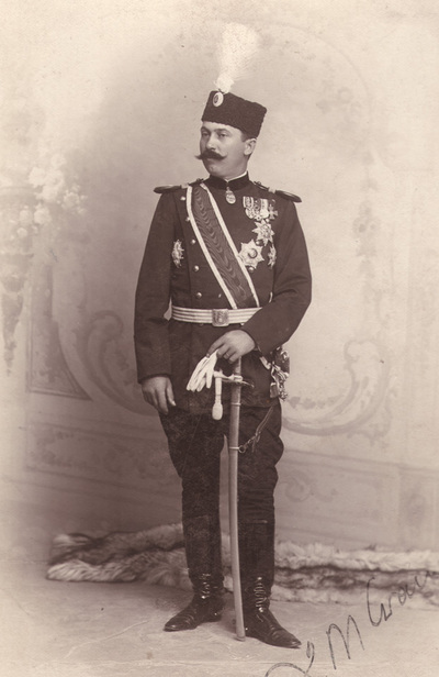 Portrait of an unknown man in  Serbian officer`s uniform