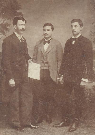 Group portrait of P. Ivankovic, Lj. Jakovljevic and V. Jovanovic