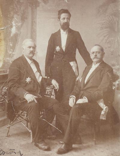 Group portrait of professor Kosta Alkovic and ministers Stojan Markovic and Dimitrije Kekic