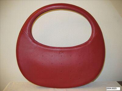 Ovaalvormige handtas in rood leer