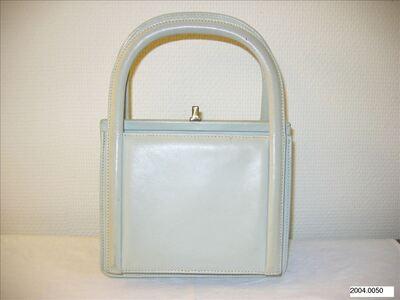 Rechthoekige handtas in crèmewit leer