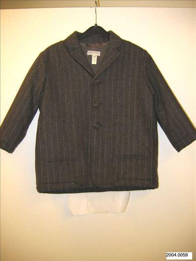 Bruine wollen jas met grijze streep in colbertmodel