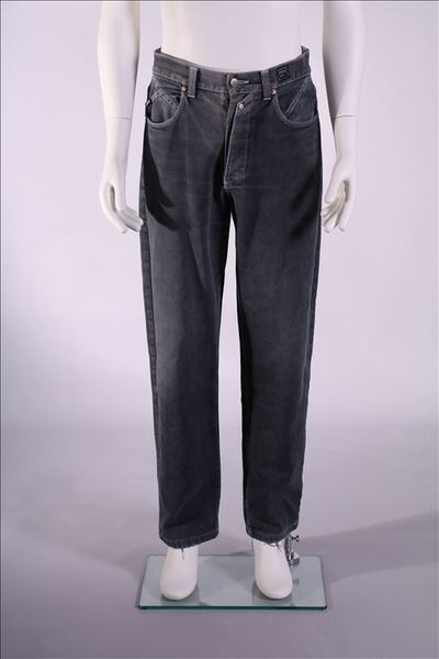 Broek in grijze jeans met witte stiksels