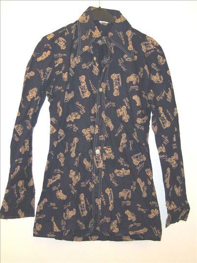 Overhemd in donkerblauw katoen met autoprint