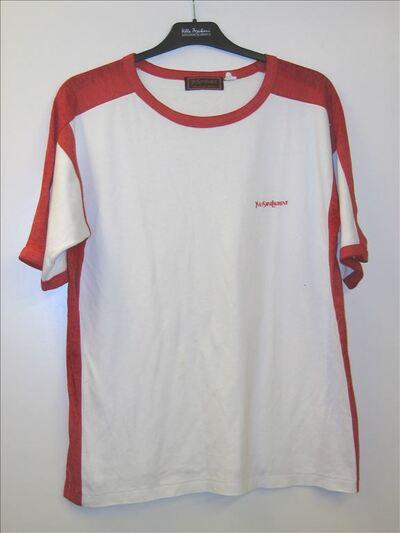 Tshirt in witte katoen met rode accenten