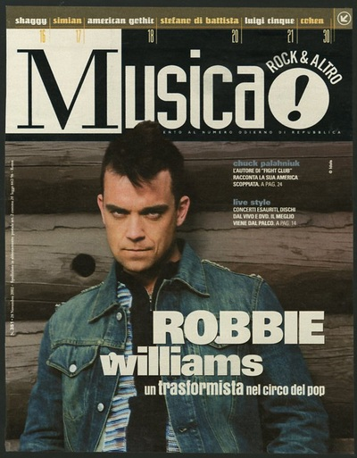 Archivio Missoni - Robbie Williams with a stripped Cardigan by Missoni