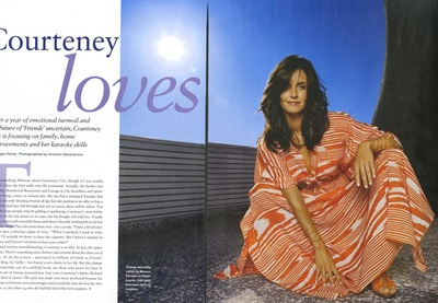 Archivio Missoni - Actress Courteney Cox in a stripped cotton dress by Missoni