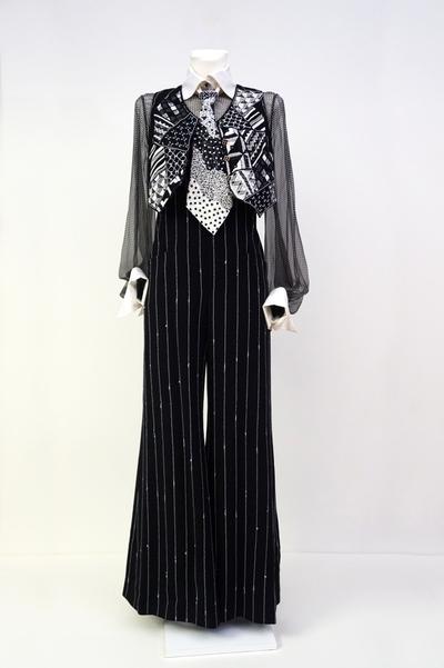 Ensemble (jumpsuit, waistcoat, blouse with tie)