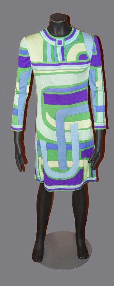Abito in jersey di lana stampata, disegno