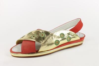 nabuk rosso/ verde/ giallo e laminato oro /red/ green/ yellow nabuk and gold laminated