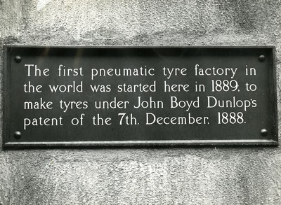 Memorial plaque for John Boyd Dunlop