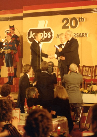 Godfrey Graham accepting a Jacob's Television Award