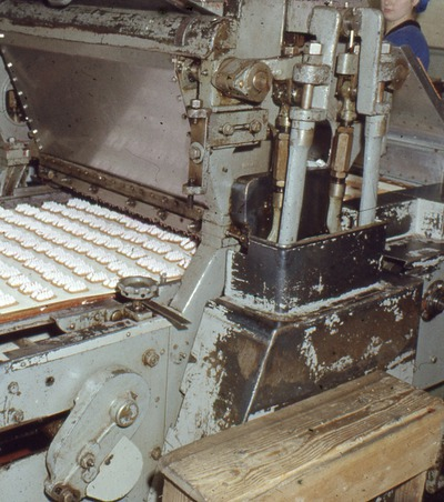 Marshmallow depositing machine at the Jacob's Biscuit Factory