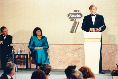 Brendan Gleeson addressing the audience at the Jacob's Radio and Television Awards
