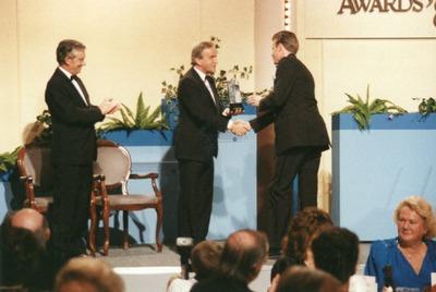 Alan Gilsenan accepting a Jacob's Award