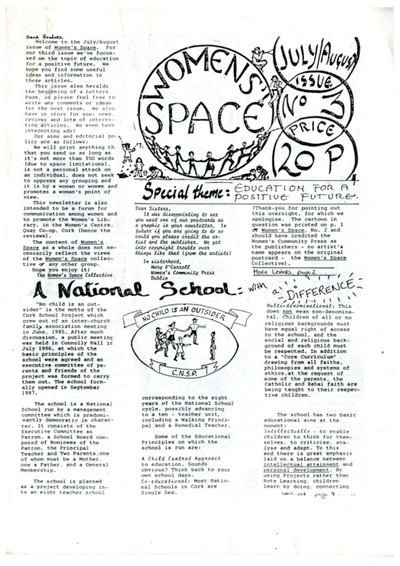 Women's Space Newsletter Issue No. 3 July/August 1988