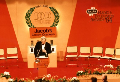 Garret FitzGerald addressing the audience at the Jacob's Awards
