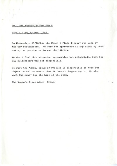 Cork Women's Place Memo re Use of Room 1986