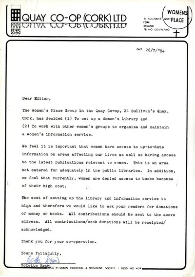 Cork Women's Place 1984 Letter to Editor Requesting Books