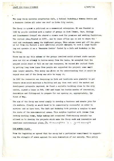 1984 Draft Report for Nuala O Connor on Quay Co-op and Cork Women's Place