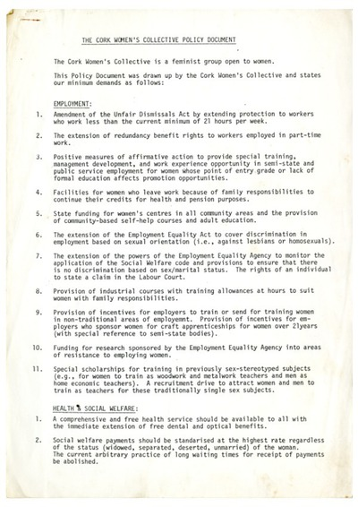 Cork Women's Collective Policy Document
