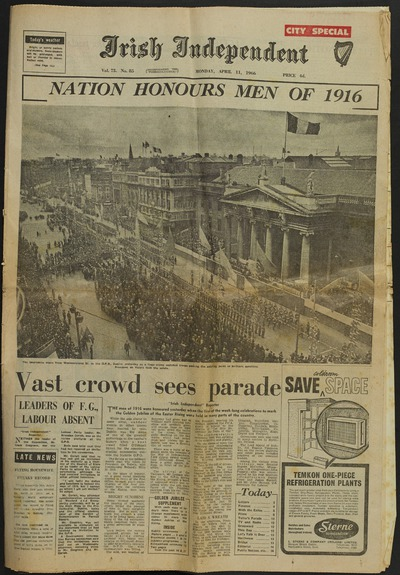 'Nation Honors Men of 1916', Irish Independent, 1966