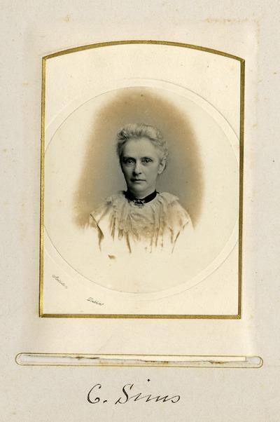 Portrait photograph of female Jacob's worker C. Sims