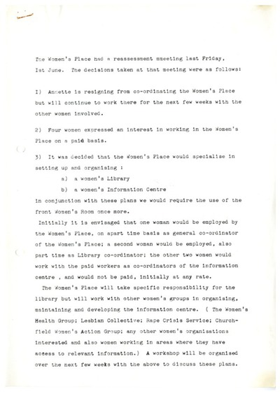 Cork Women's Place Workers' Document c. 1984