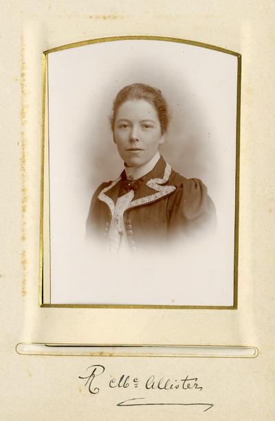 Portrait photograph of female Jacob's employee R. McAllister