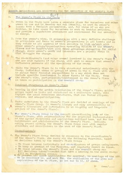 Cork Women's Place Definitions and Directives
