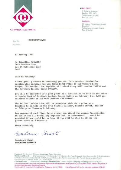 1989 Letter re Prize Co-operation North Exchange Cork Lesbian Line / Belfast Lesbian Line