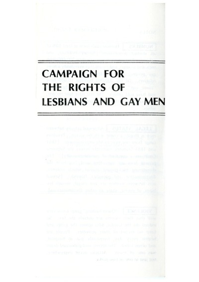 1980s Campaign For The Rights Of Lesbians And Gay Men Leaflet