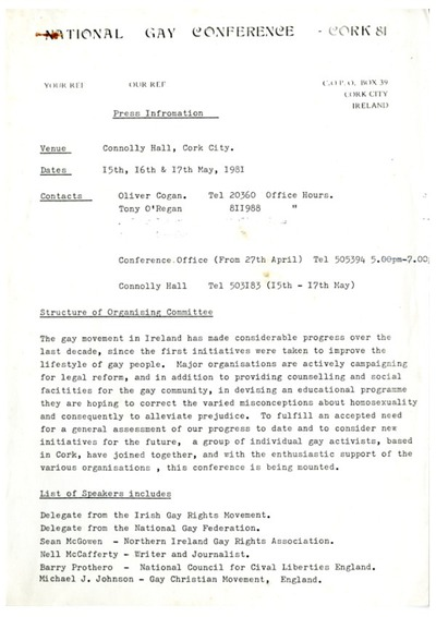 Press Information 1981 National Gay Conference Cork