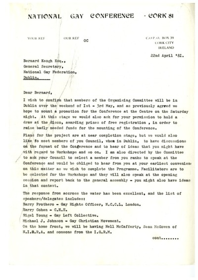 22 April 81 Letter re National Gay Conference Cork