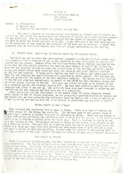 Minutes of Lesbian/Gay Activist Meeting Dublin 1984